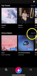 """Voloco Discover Screen with """"See All"""" highlighted"""